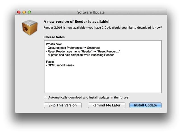 Reeder 2 for mac 0b5 01