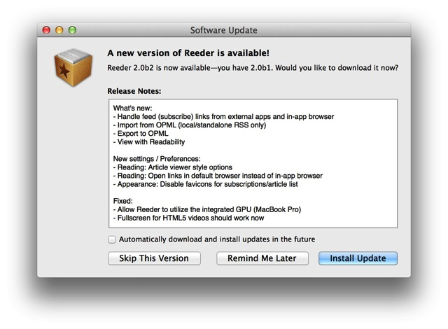 Reeder for mac 2 0b2