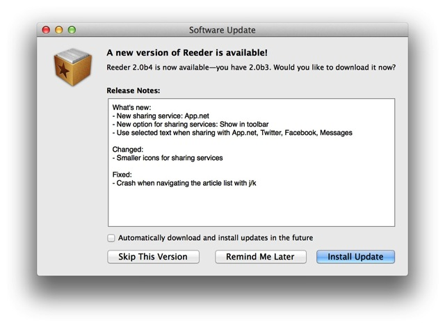 Reeder for mac 2 0b4